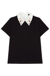 Черная футболка с контрастным воротником Maje