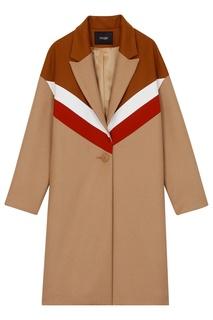 Комбинированное пальто Maje