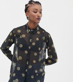 Полупрозрачная рубашка с принтом Reclaimed Vintage inspired - Черный