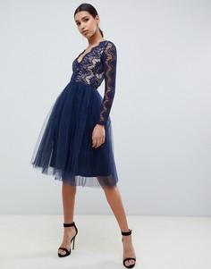 Темно-синее платье миди для выпускного с кружевом Rare London - Темно-синий