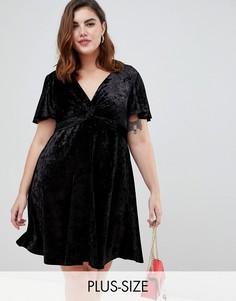 Черное бархатное платье с перекрутом New Look Curve - Черный
