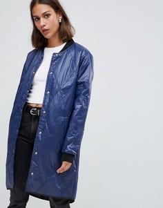 Удлиненная стеганая куртка-бомбер Minimum - Темно-синий