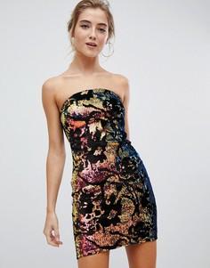 Платье-бандо с пайетками Parisian - Черный