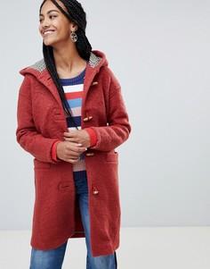 Пальто с пуговицами моржовый клык, капюшоном и подкладкой в клетку Esprit - Оранжевый
