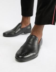 Черные кожаные лоферы с заклепками WALK London Study - Черный
