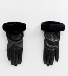Черные кожаные классические перчатки с логотипом UGG - Черный
