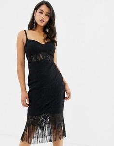 Черное платье миди с кружевным топом-корсетом и кисточками по нижнему краю Forever New - Черный
