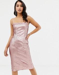 Розовое платье миди на бретельках с пайетками Forever New - Розовый