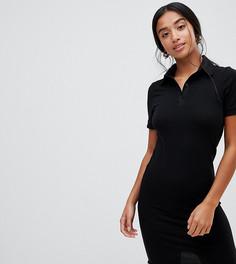 Платье-поло мини в рубчик ASOS DESIGN Petite - Черный