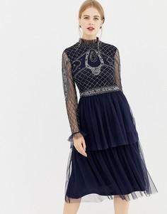 Декорированное платье с длинными рукавами и юбкой из тюля Frock & Frill - Темно-синий