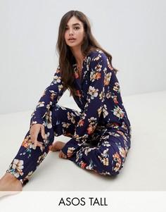 Пижама из 100% модала в стиле oversize с цветочным принтом ASOS DESIGN Tall - Темно-синий