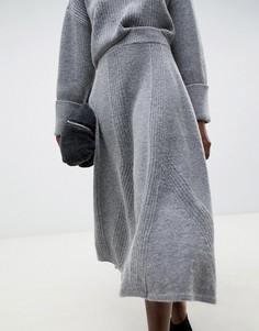 Трикотажная юбка миди ASOS WHITE - Серый