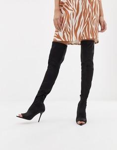 Ботфорты с открытым носком ASOS DESIGN Kimberly - Черный