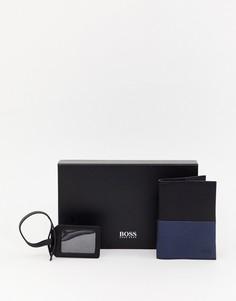 Подарочный набор из кожаной обложки для паспорта и багажной бирки BOSS - Черный
