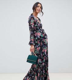 Платье макси с оборками, цветочным принтом и запахом ASOS DESIGN Maternity - Мульти