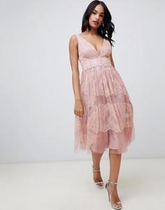 Сетчатое платье миди с кружевными вставками ASOS DESIGN - Серый