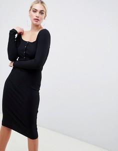 Облегающее платье миди в рубчик с длинными рукавами и пуговицами с эффектом рога ASOS DESIGN - Черный