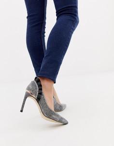 Серебристые туфли-лодочки на каблуке с рюшами Ted Baker - Серебряный