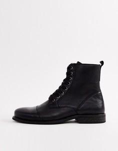 Черные кожаные ботинки River Island - Черный