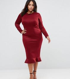Облегающее платье миди с длинными рукавами и оборкой по краю Club L Plus - Красный