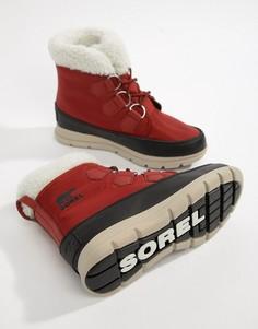 Красные нейлоновые водонепроницаемые ботинки с подкладкой из микрофлиса Sorel Explorer Carnival - Коричневый