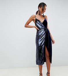 Бархатное платье миди с запахом и пайетками ASOS DESIGN Tall - Мульти