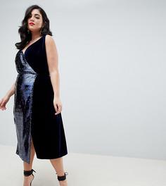 Бархатное платье мини на бретельках с запахом и пайетками ASOS DESIGN Curve - Мульти