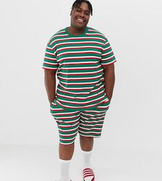 Пижама в полоску с новогодним принтом ASOS DESIGN Plus - Мульти