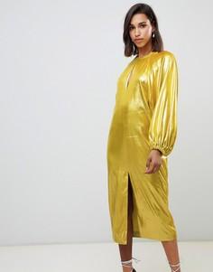 Платье миди металлик с пышными рукавами на манжетах ASOS EDITION - Зеленый