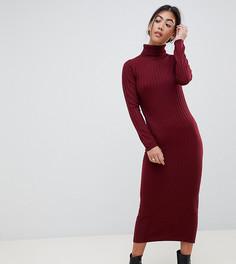Платье миди с высоким воротом в рубчик ASOS DESIGN Petite - Красный