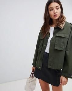 Куртка в стиле милитари с леопардовым принтом на воротнике Blank NYC - Зеленый