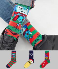 Набор из 3 пар носков в новогоднем стиле ASOS DESIGN - Мульти