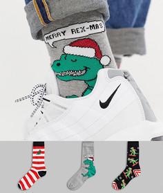 3 пары новогодних носков с динозаврами в подарочной упаковке ASOS DESIGN - Мульти