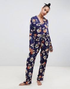 Классическая пижама из 100% модала с крупными цветами ASOS DESIGN - Темно-синий