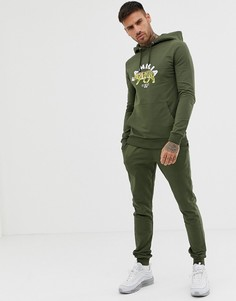 Спортивный костюм цвета хаки из обтягивающего худи и зауженных джоггеров с тигровым принтом ASOS DESIGN - Зеленый