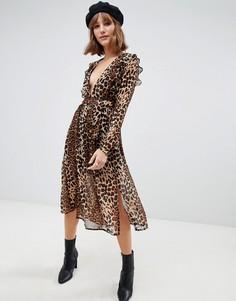 Платье миди с леопардовым принтом и разрезом Glamorous - Коричневый