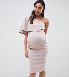 Платье миди на одно плечо с кейпом ASOS DESIGN Maternity - Розовый