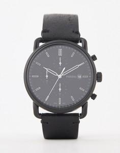 Часы с хронографом и кожаным ремешком Fossil FS5504 Commutor - 42 мм - Черный