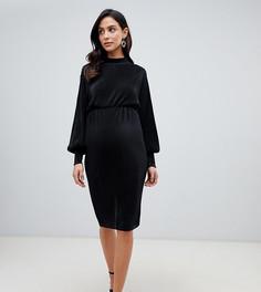 Плиссированное платье миди с объемными рукавами ASOS DESIGN Maternity - Черный