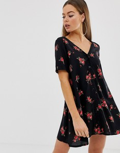 Чайное платье на пуговицах с цветочным принтом Motel - Черный