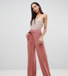 Широкие брюки с поясом Missguided Tall - Коричневый