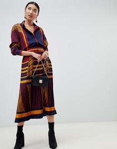Плиссированная юбка миди в стиле колор блок Na-kd - Мульти