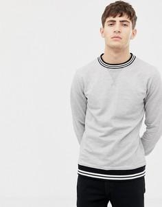 Трикотажный свитшот с круглым вырезом и отделкой в рубчик Another Influence - Серый