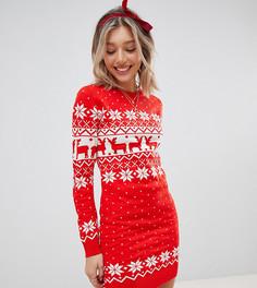 Платье-джемпер с традиционным узором Фэйр-Айл Brave Soul Petite - Красный