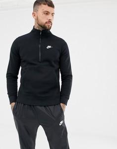 Черный трикотажный свитшот с короткой молнией Nike 929452-010 - Черный