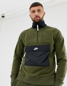 Зеленый свитшот с короткой молнией Nike 929097-395 - Зеленый