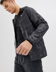 Черная куртка с камуфляжным принтом и светоотражающей отделкой Nike Running Just Do It AH5987-010 - Черный
