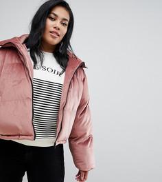 Бархатное дутое пальто Brave Soul Plus Ramblin - Розовый