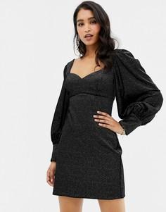 Черное бархатное платье мини с пышными рукавами Forever New - Черный
