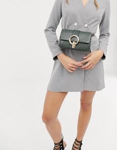 Зеленая сумка-кошелек на пояс с отделкой под кожу крокодила Missguided - Розовый